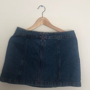 Denim zipup skirt